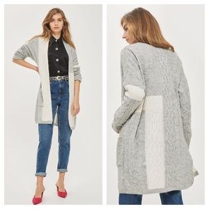 TopShop Patchwork Cable Knit Duster Cardigan 12N